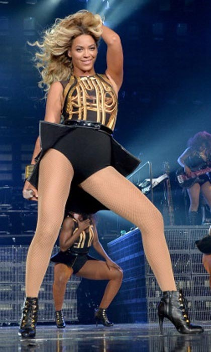 It's no surprise the costumes on Beyoncé's Mrs. Carter tour have a tendency to flash the singer's flesh, especially where her perfectly toned stems are concerned.