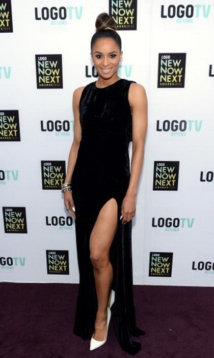 "No wonder her first hit was ""1, 2, Step"" - Ciara's got legs to next Tuesday. The singer showed off her perfect pins in a black velvet Olcay Gulsen maxi dress at the 2013 NewNowNext Awards, complete with an ultra-high slit to show off her camera-ready calves."