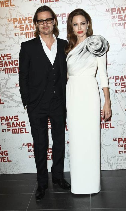 At a premiere in Paris with fiancé Brad Pitt