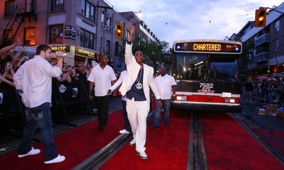 MAN OF THE PEOPLE: Kardinall Offishall represented his hometown of Toronto by chartering a TTC bus for his arrival in 2008. (We wonder if he had to pay the standard fare?)