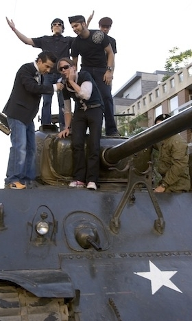 TANKS A LOT: In 2005, Billy Talent arrived on the red carpet atop a 1942 Sherman Tank, a primary battle tank used by the allies in WWII (it was unloaded, of course, but show-stopping nevertheless). The Canadian rock band remains the most nominated and awarded band in MMVA history, with 10 wins to their name.