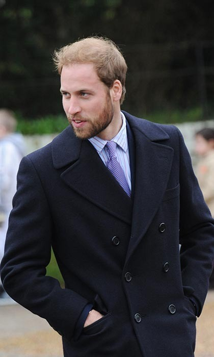 A bearded Prince William attended the Christmas Day service at St Mary Magdalene Church on Dec. 25, 2008.
