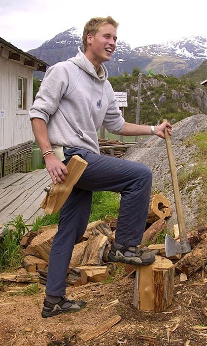 He's so burly! Chopping logs for the local village of Tortel in Southern Chile, the Prince began taking after his mother's philanthropic efforts. Here, William was working with Raleigh, a charity that helps promote sustainable development.