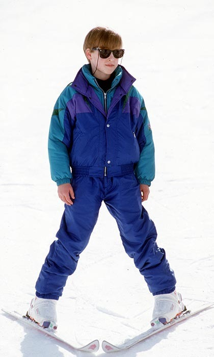 Pre-teen William stayed warm while looking cool on a skiing holiday in Switzerland in 1992.