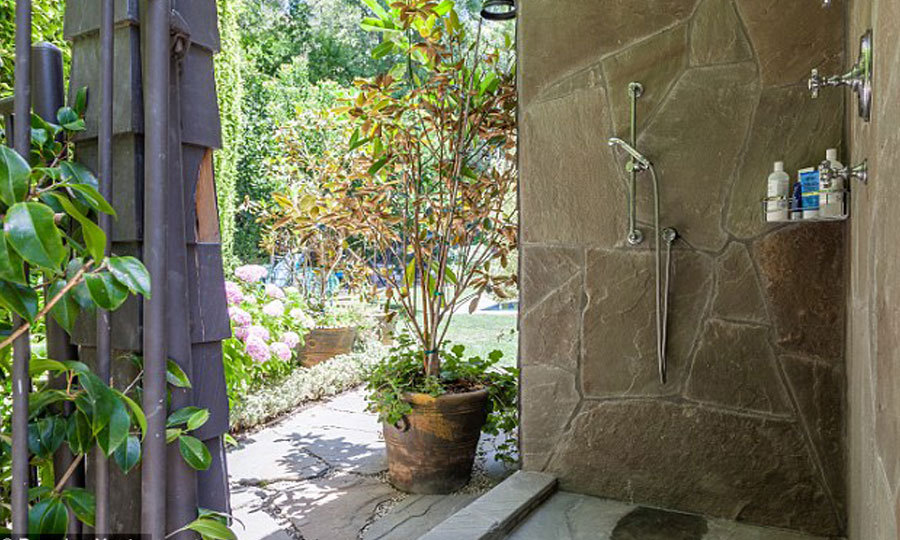 An outdoor shower is a luxury. It's perfect for pre-pool dips or to refresh yourself after a day in the sun. (Image: Brandon Vogts)