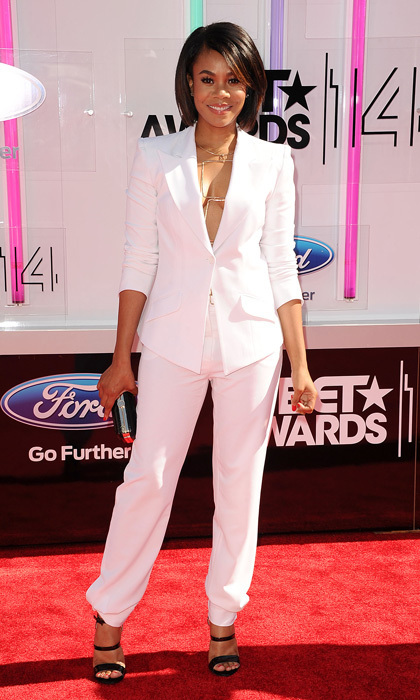 'Think Like a Man Too' star Regina Hall wore a relaxed white suit by Chagoury Couture (sans shirt!) for Sunday's BET Awards and added some funk to her ensemble by way of a bold gold necklace, black box clutch and triple strap sandals