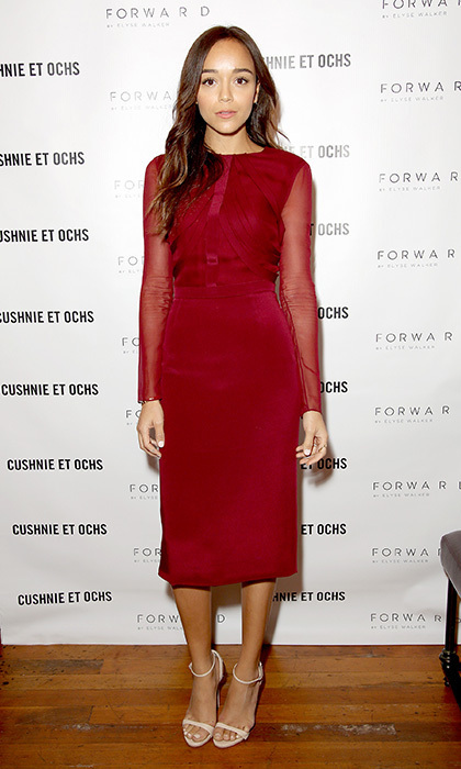 Actress Ashley Madekwe attended a special dinner hosted by Cushnie Et Ochs in a wine coloured silk gown from the brand's pre-fall 2014 collection, and incorporated barely there makeup, loose waves and Stuart Weitzman's 'Nudist' sandals for a completely effortless look