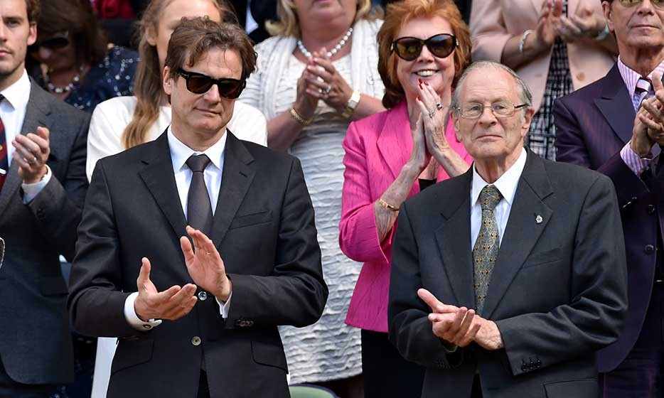 Colin Firth took his dad David Firth to see the Eugenie vs. Simona match.