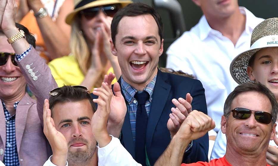 'Big Bang Theory' star Jim Parsons cheered on his pal, Montreal-native Eugenie Bouchard, during her match against Simona Halep.