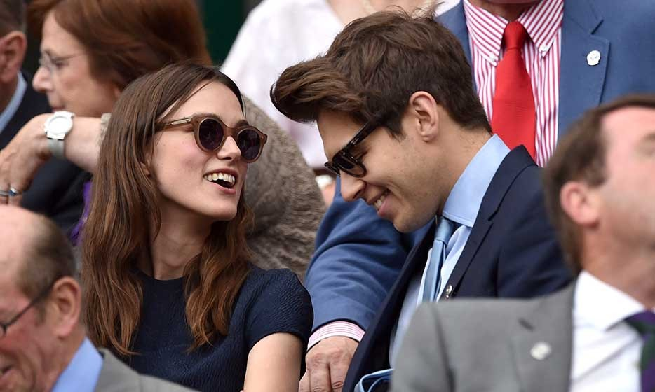Keira Knightley and James Righton attended the ladies singles final between Eugenie Bouchard and Petra Kvitova.