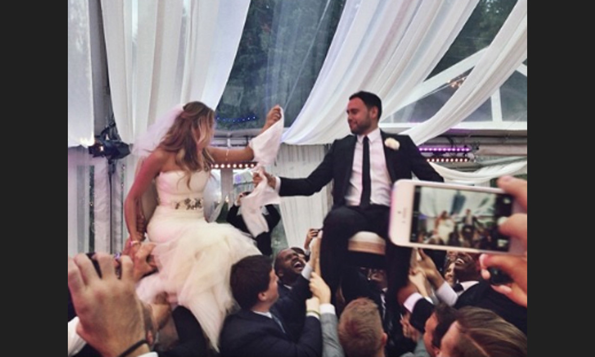 "Everyone looks like they are having a wail of a time! Ryan Graves congratulates the couple on their special day: ""huge congrats to our buddies @yael & @scooterbraun on one of the most beautiful weddings I've ever seen. #SYBwedding"" Photo: © Instagram"