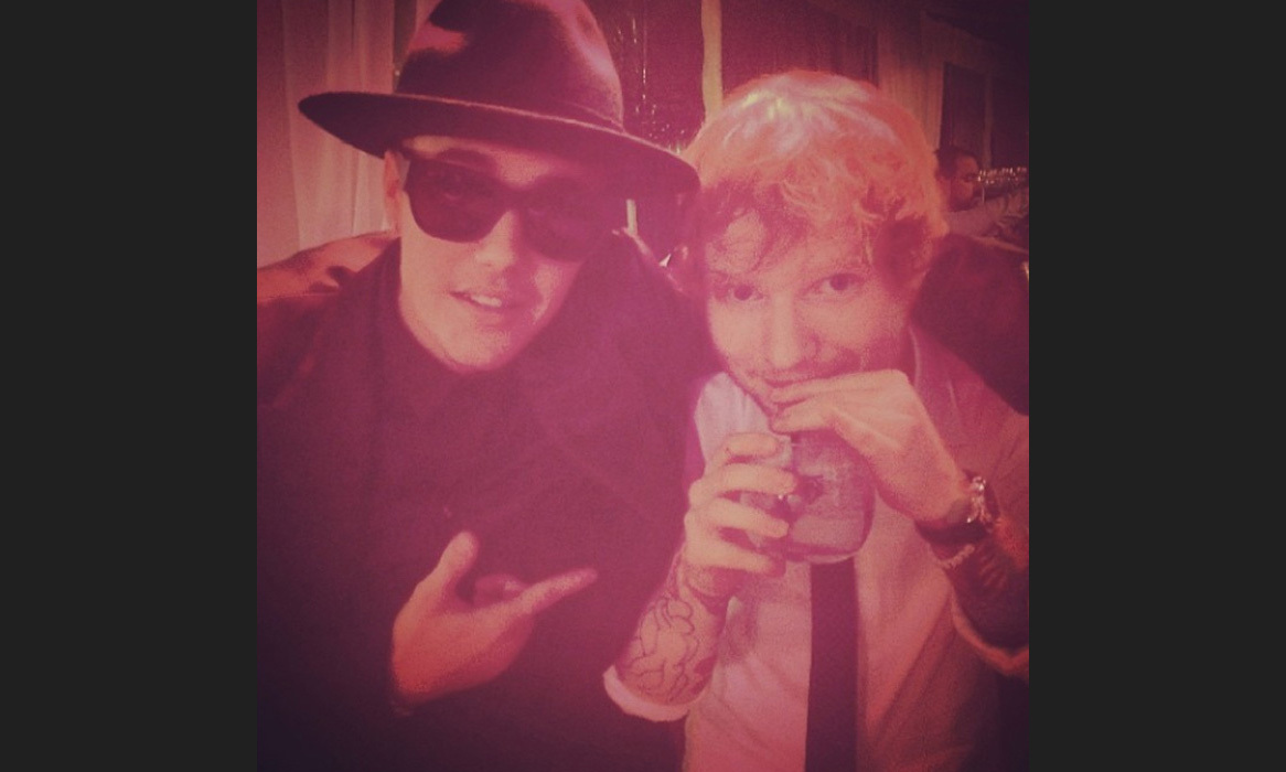 "Justin Bieber revealed he was a big fan of Ed Sheeran with a snap of the musical pair; ""@edsheeran is one of the only people on my iPod"" Photo: © Instagram"