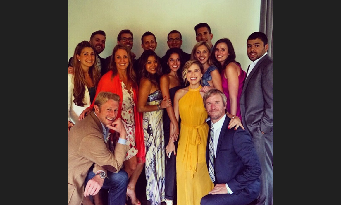 "Sophia Bush posts a snap of some of the glamorous guests; ""Wedding crew. Oh yeah. We bring the party alright. #SYBwedding"" Photo: © Instagram"