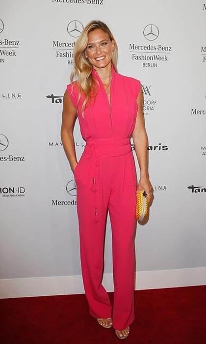 Bar Refaeli turned heads in a bubblegum pink jumpsuit by Laurèl at the label's fashion week show in Berlin.