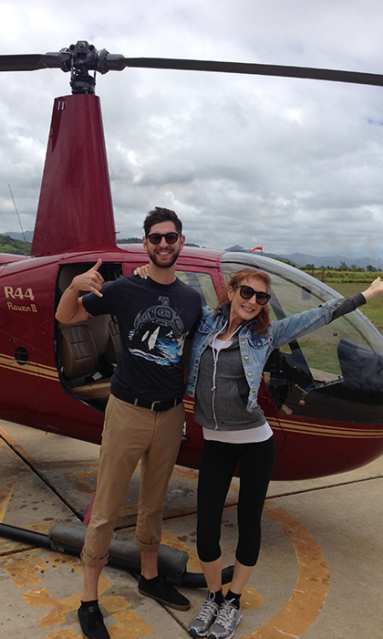 About to take off on a helicopter tour of Kauai… smiling on the outside, TERRIFIED on the inside.