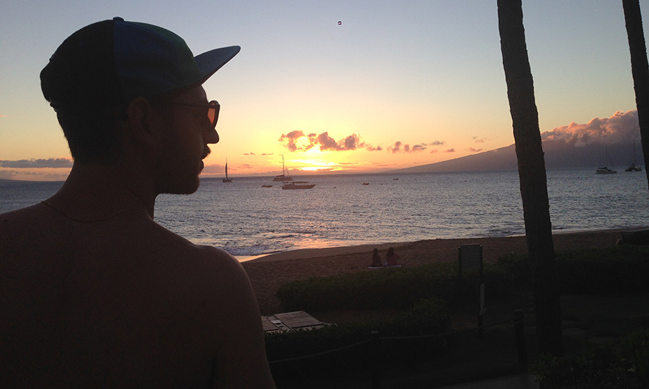 Sunset at The Westin Maui. Also, my man in a dorky hat.