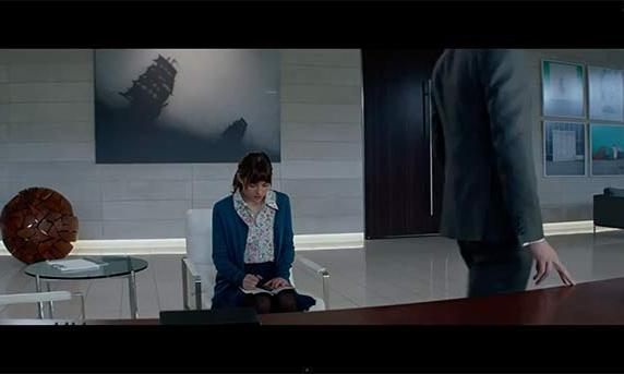 Anastasia Steele and Chistian Grey meet for the first time in Fifty Shades of Grey