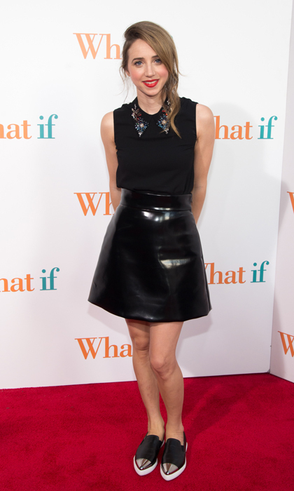 Zoe Kazan made her mark at the 'What If' premiere in a sweet Miu Miu number with just the right dose of edge. The actress paired her collared top with a patent leather A-line skirt and cap-toe loafers. (Image: Getty)