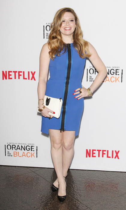 'Orange is the New Black' star Natasha Lyonne arrived at the show's L.A. screening and panel discussion in a cobalt scuba dress with exposed zipper, a white clutch and black pumps. (Image: Getty)