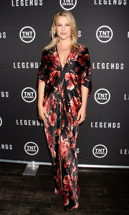 Ali Larter stole the show at the 'Legends' Tribeca premiere in a draped silk charmeuse gown by Naeem Khan, dramatic onyx Lorraine Schwartz earrings and Jerome C. Rousseau heels. (Image: Getty)
