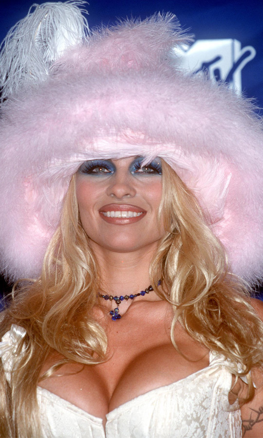 Pamela Anderson Partied Backstage At The 1999 VMAs Sporting A Cleavage Bearing Top And
