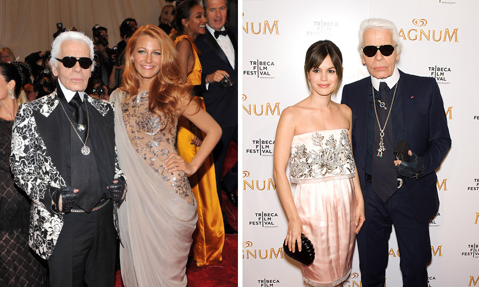 "THEY BOTH HAVE KARL'S APPROVAL: As the ambassador for Chanel's Mademoiselle handbag collection, Blake easily won over the brand's creative director, Karl Lagerfeld, who called the actress, ""a kind of American dream girl."" Rachel was Karl's muse in a series of three vignettes the designer directed for Magnum Ice Cream in 2011. ""It was great to work with a tiny, beautiful, doll-shaped person who was clever, witty, and gifted,"" recalls Karl."