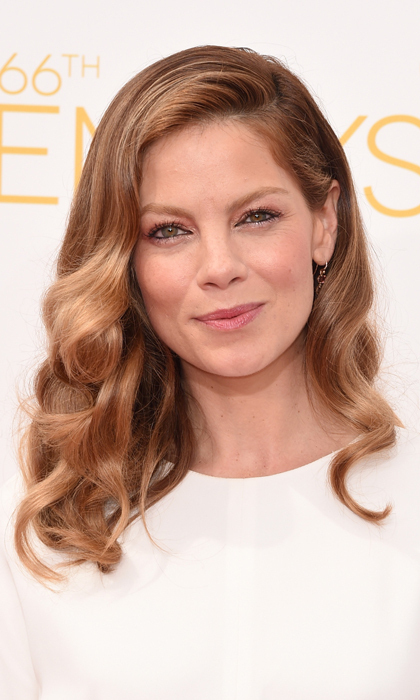 Michelle Monaghan's look was soft and pretty from her deeply side-parted, finger-waved curls to her black-rimmed eyes and lips kissed with the most natural pink. © Getty