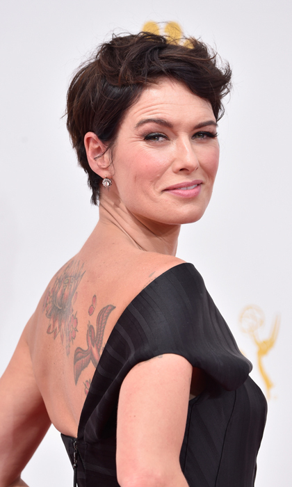 Lena Heady is one of the most hardened female characters on TV as Cersei Lannister on 'Game of Thrones,' and her rock 'n' roll red-carpet look - tousled locks and smoky eyes - definitely has an edge. © Getty