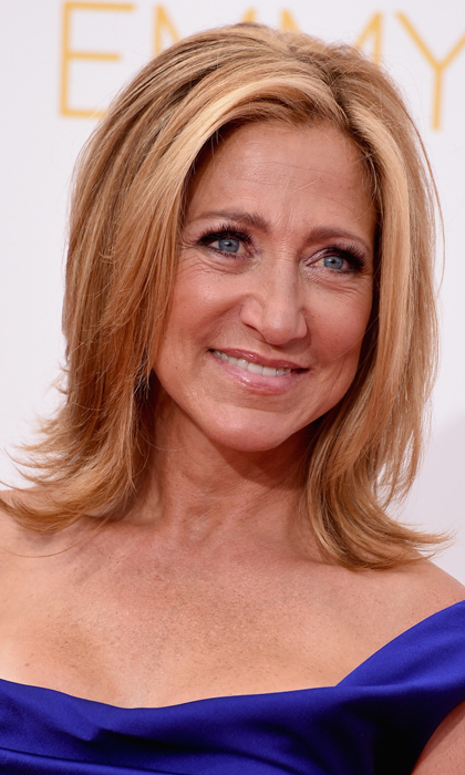 Edie Falco was a classic beauty on the red carpet with straight blonde locks, embellished eyes and a barely there lip. © Getty