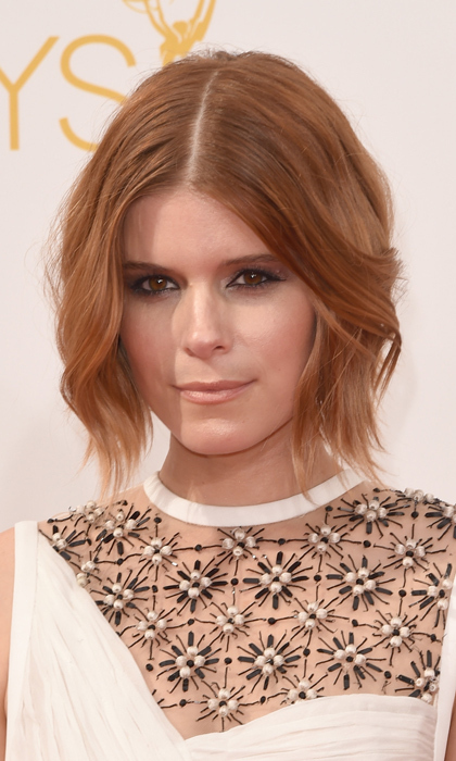 We definitely miss Kate Mara on 'House of Cards' but we never tire of seeing her latest hair colour. At the Emmys it was an orange-red tousled bob with a subtle ombre effect, plus black-rimmed peepers and a nude lip.  © Getty