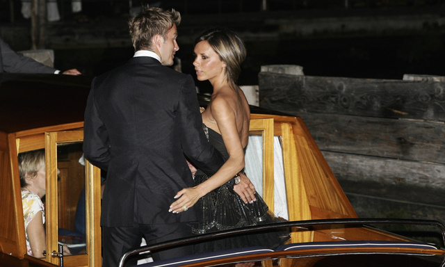 Victoria and David Beckham departed the Hotel Danieli in 2006 at the Venice Film Festival, but not without a romantic embrace in the moonlight.