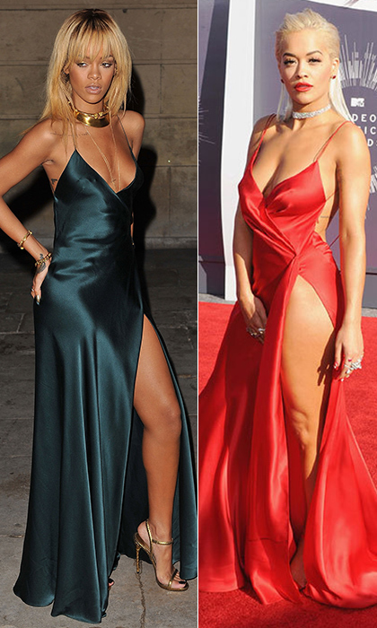 Rita Ora was an old Hollywood vision in red Donna Karan Atelier before taking the stage with Iggy Azalea to perform 'Black Widow,' but we knew we'd seen that dress before. Cut to: Rihanna painting the town red - in teal - during London Fashion Week in 2012, though the Barbadian beauty's dress was by Stella McCartney. © Getty