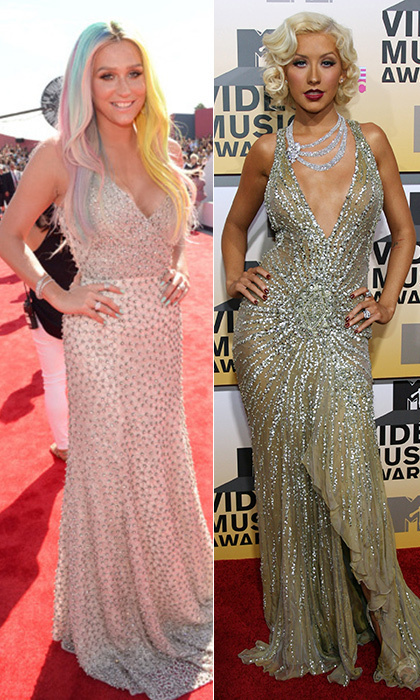 While Kesha's pastel mane makes any dress she wears look unique, we couldn't help remembering Christina Aguilera's VMAs Versace back in 2006. While the 'The Voice' judge gave her v-neck, bejewelled nude gown a deco spin, the 'Rising Star' judge kept accessories and makeup to a minimum. © Getty