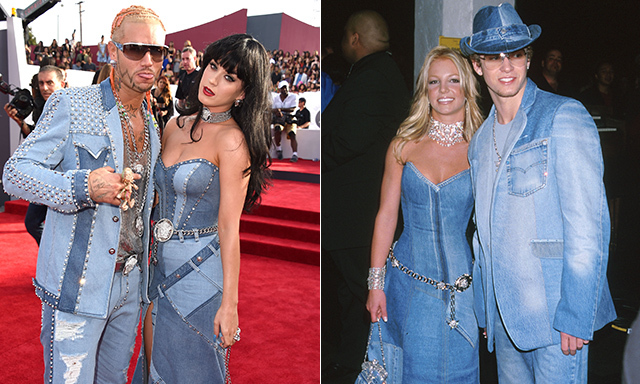 "Katy Perry teased fans on Twitter about her Versace look with Riff Raff before hopping out of an orange Lamborghini at the 2014 VMAS, saying, ""WE'RE GOIN FOR DA BEST WORST DRESSED TODAY."" And it was a spot-on description at that. Britney and Justin originally gave Canadian tuxedos a go in 2001 at the American Music Awards. © Getty"