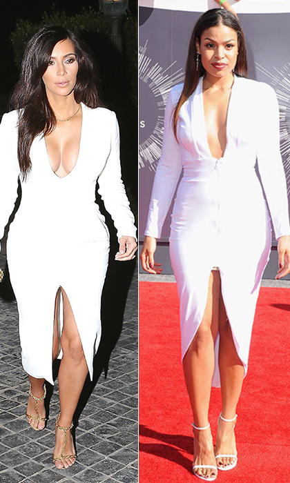 Earlier this year, Kim Kardashian stepped out in LA in a plunging, white Wes Gordon dress with a thigh-high center slit, which floated to our minds when we saw Jordin Sparks in a similarly sexy white dress on the arm of her equally colourless love, Jason Derulo. © Getty