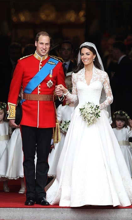 PRINCE WILLIAM AND KATE MIDDLETON: After eight years of dating, the world watched as Prince William finally wed his beautiful bride, Kate Middleton, on April 29, 2011. Clad in Alexander McQueen, the big day sealed Kate's title as the Duchess of Cambridge and solidified her status as global icon. Their wedding has been one of the most talked about events of the century, with William, Kate and their one-year-old son, Prince George, now at the height of popularity among royal watchers.