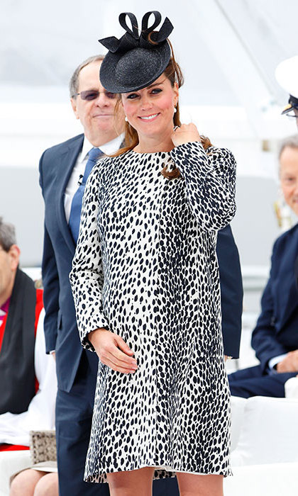 The Duchess took a fashion risk in a dalmatian-printed dress by Hobbs for the Princess Cruise Ship ceremony. Photo: © Getty Images