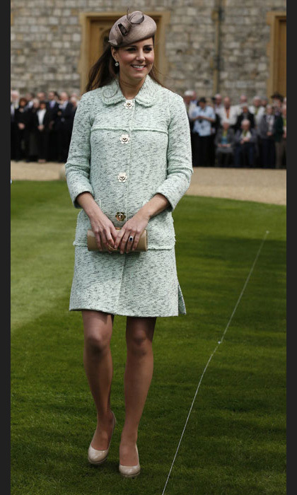 At the Queen's Scout Parade, she dazzled in a mint green Mulberry coat, pink L.K.Bennett heels and a Whiteley hat. Photo: © Getty Images