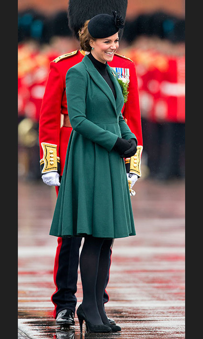 There was no hiding it any longer: The Duchess' bump was clearly visible as she celebrated St Patrick's Day in an elegant green coat by Emilia Wickstead. Photo: © Getty Images
