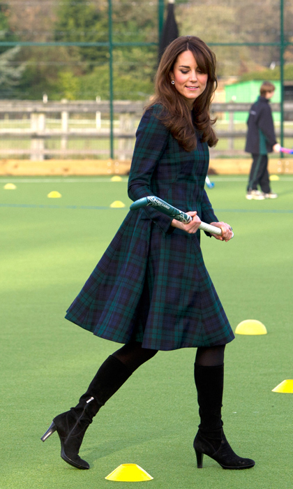 Kate wouldn't let a little thing like pregnancy get in the way of playing a round of field hockey at her alma matter, St. Andrews. Photo: © Getty Images