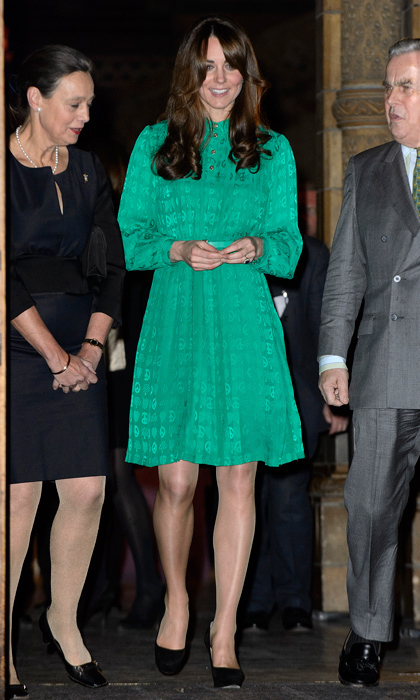 It was still early in her pregnancy when Kate attended a museum opening in a roomy green dress in 2012. Photo: © Ben Pruchnie/Getty Images
