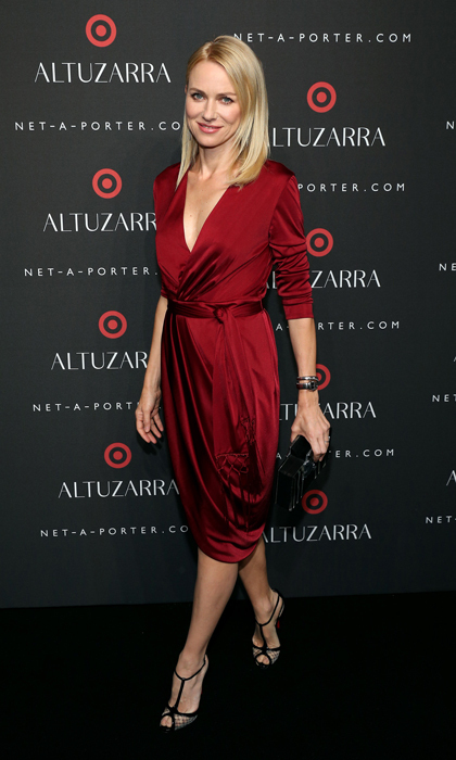 She wowed in a black jumpsuit at TIFF, but Naomi Watts sported a belted, maroon jersey dress at the launch of Joseph Altuzarra's collaboration with Target. © Getty