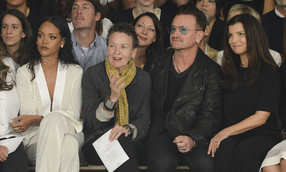 Bono and Rihanna were front row for the unveiling of Edun's Spring/Summer 2015 collection. Edun was created by Bono and his wife, Ali Hewson, to bolster ethically sourced clothing.