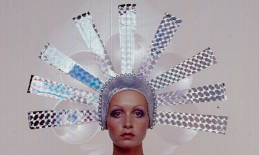 1971: A still from Twiggy's turn as an actress in 'The Boy Friend,' wherein one of her many costume changes included a metallic headdress. (Stanley Bielecki/Getty Images)