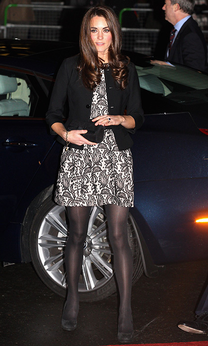 At a chilly December concert in London, Kate donned a Zara dress paired with a Ralph Lauren jacket and opaque black tights. Photo: © Getty