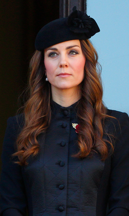 For the Remembrance Day ceremony in London last year, Kate paid her respects in a stately quilted black coat by Temperley London. Photo: © Getty