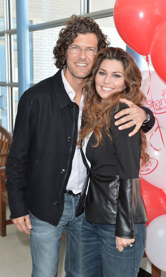 Shania and her husband, Frédéric Thiébaud, at the opening of the newest Shania Kids Can Clubhouse in Brampton, Ont.