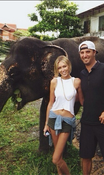 """Found a new friends on the side of the road!"" The newly-engaged couple posed with an elephant in Thailand."