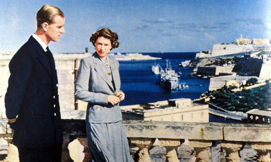 Look at that view! Elizabeth and Philip take in the Mediterranean Sea atop a Phoenician castle in 1949. Photo: © Uppa/Photoshot/UPPA/ZUMAPRESS.com