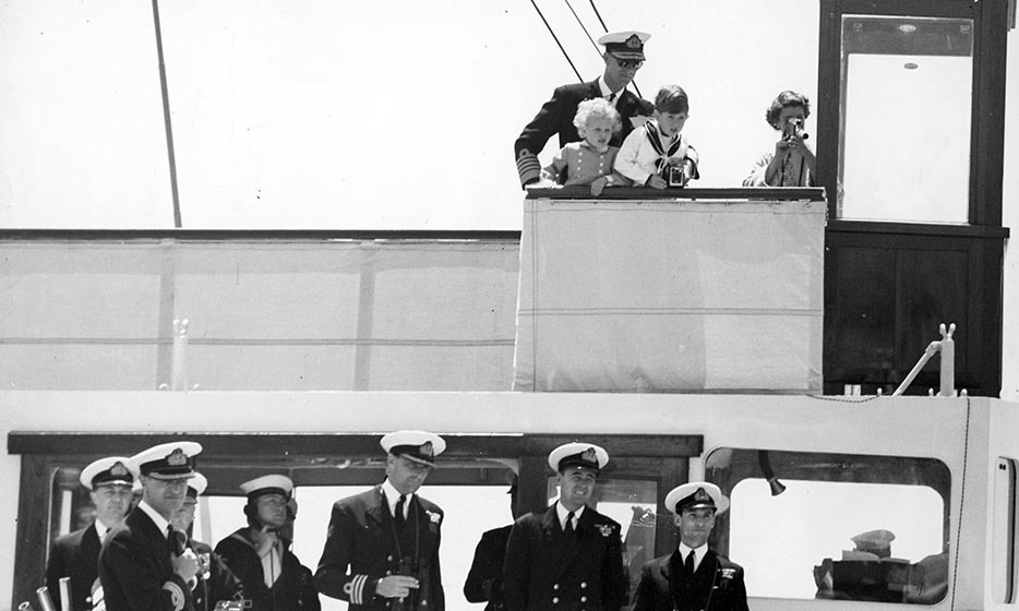 The royal family boarded the Yacht Brittania and set sail for Malta in 1954. Prince Charles and Princess Anne are seen at the ship's helm looking down at their well wishers. Doesn't Prince Philip look dapper in his sailor hat and aviator sunglasses? Photo: © David Johnson / Associated Newspapers  / Rex Features